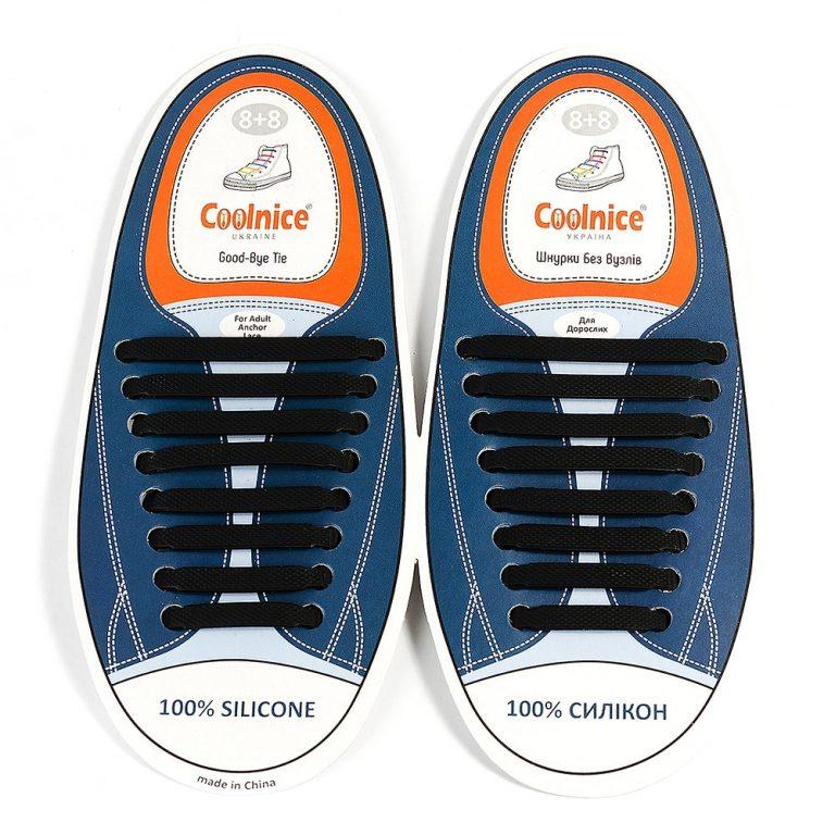 Силиконовые шнурки Coolnice чёрные
