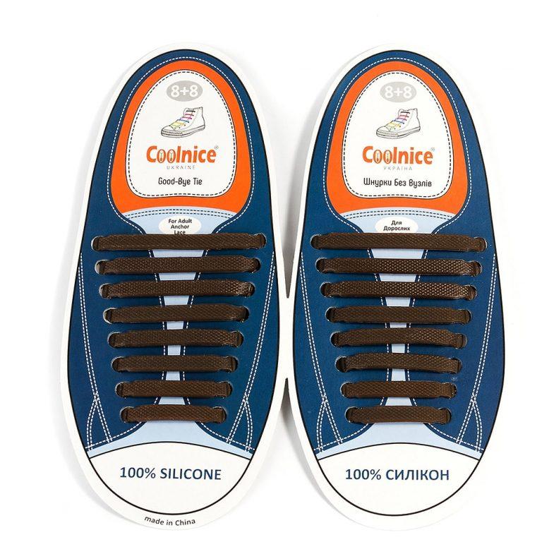 Силиконовые шнурки Coolnice коричневые