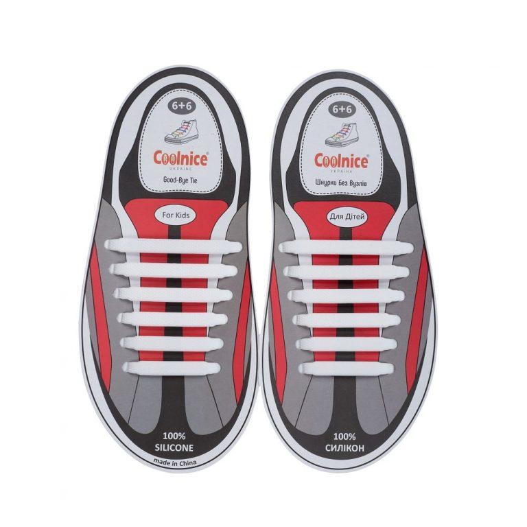Силиконовые шнурки Coolnice детские 6+6 белые web