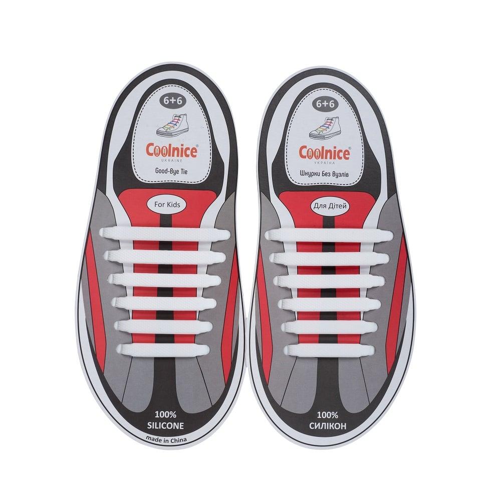 Силиконовые шнурки Coolnice детские 6+6 белые