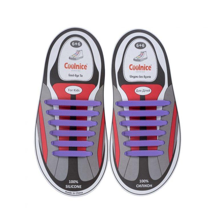 Силиконовые шнурки Coolnice детские 6+6 фиолетовые web