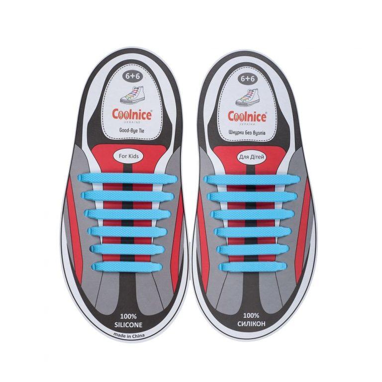 Силиконовые шнурки Coolnice детские 6+6 голубые web