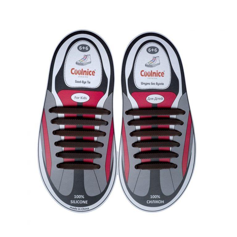 Силиконовые шнурки Coolnice детские 6+6 коричневые web