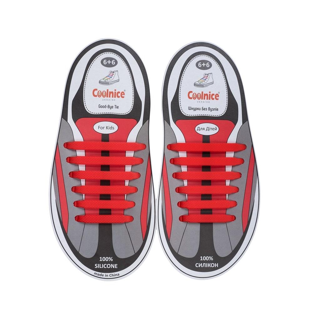 Силиконовые шнурки Coolnice детские 6+6 красные