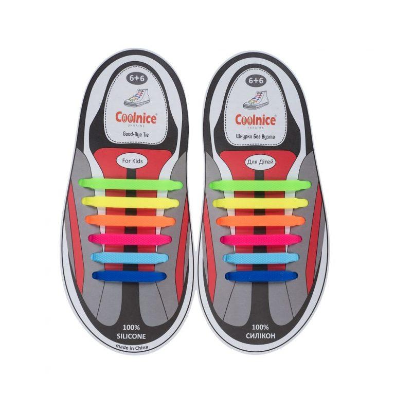 Силиконовые шнурки Coolnice детские 6+6 радуга web