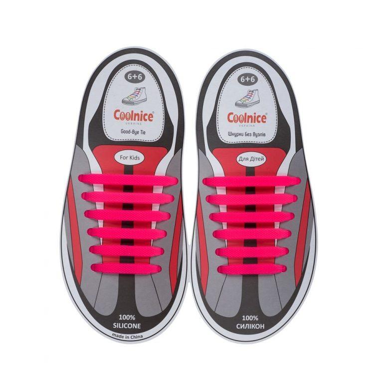 Силиконовые шнурки Coolnice детские 6+6 розовые web