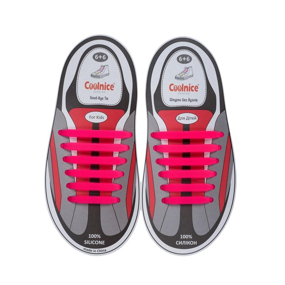 Силиконовые шнурки Coolnice детские 6+6 розовые