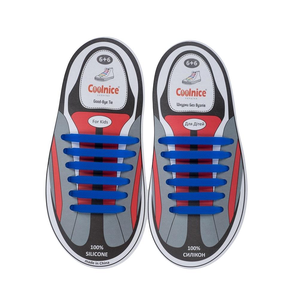 Силиконовые шнурки Coolnice детские 6+6 синие