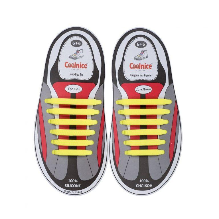 Силиконовые шнурки Coolnice детские 6+6 жёлтые web