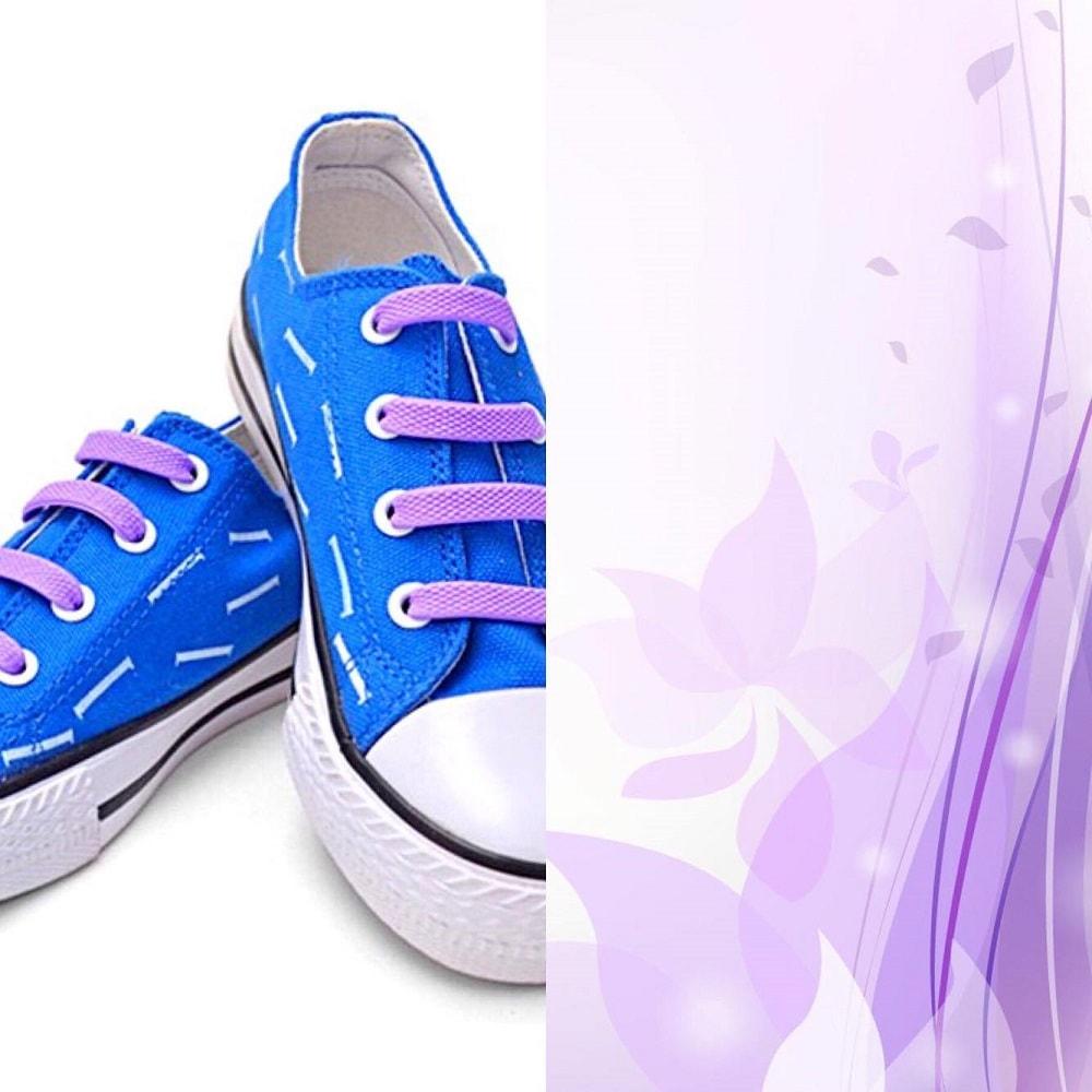 фиолетовые шнурки на кедах