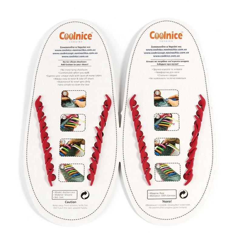 Силиконовые шнурки Coolnice бордовые обратка
