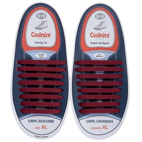 Силиконовые шнурки Coolnice 8+8XL бордовые