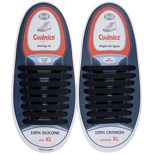 Силиконовые шнурки Coolnice 8+8XL чёрные