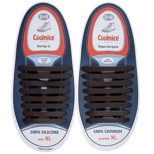 Силиконовые шнурки Coolnice 8+8XL коричневые