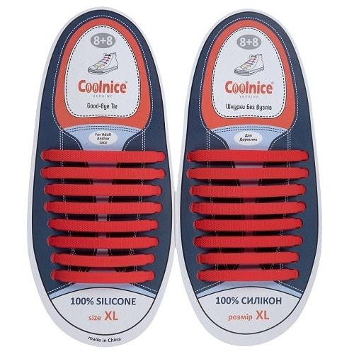 Силиконовые шнурки Coolnice 8+8XL красные