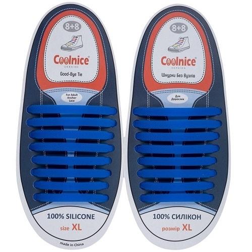 Силиконовые шнурки Coolnice 8+8XL синие