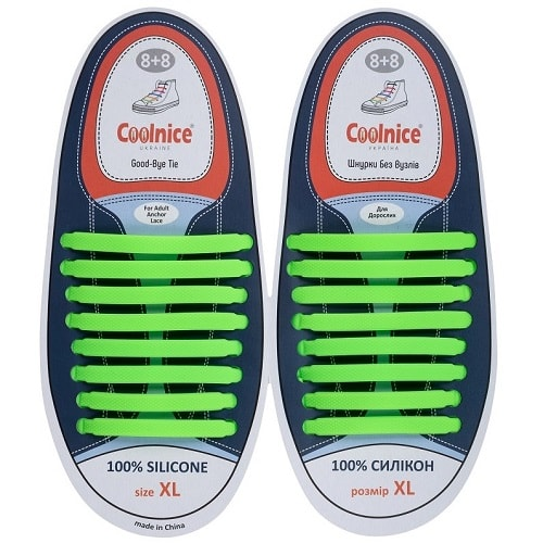 Силиконовые шнурки Coolnice 8+8XL зелёные