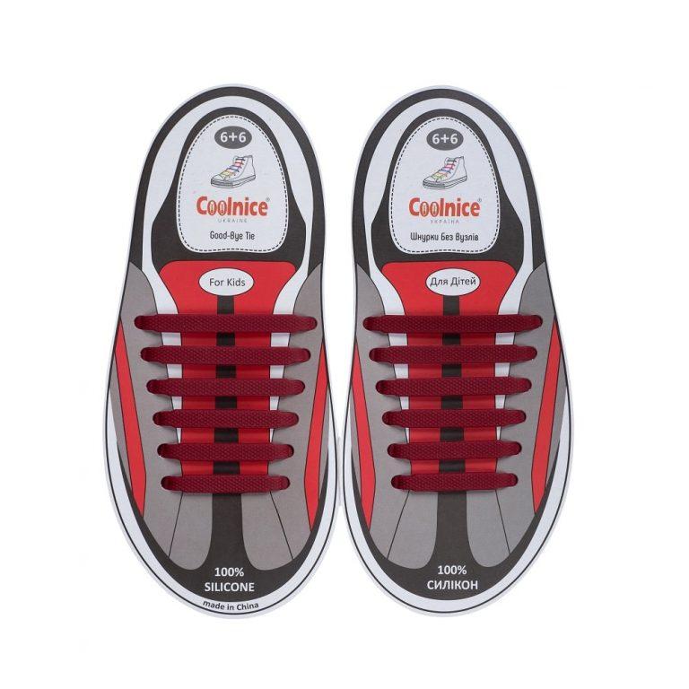 Силиконовые шнурки Coolnice детские 6+6 бордовые web