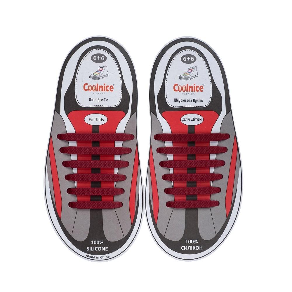 Силиконовые шнурки Coolnice детские 6+6 бордовые